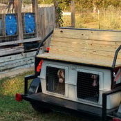 Two hunting dogs in an Easy Loader Kennel on a Bird Dog Buggie