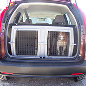 A Hunting Dog in a Deuce Kennel in an SUV