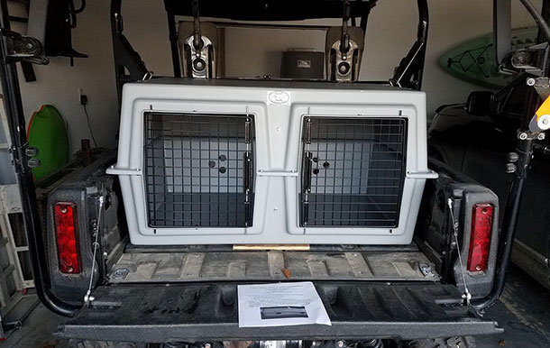 Our kennels fit perfectly in this Honda Pioneer